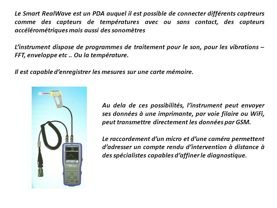 Le Smart RealWave est un PDA auquel il est possible de connecter différents captreurs comme des capteurs de températures avec ou sans contact, des capteurs accélérométriques mais aussi des sonomètres