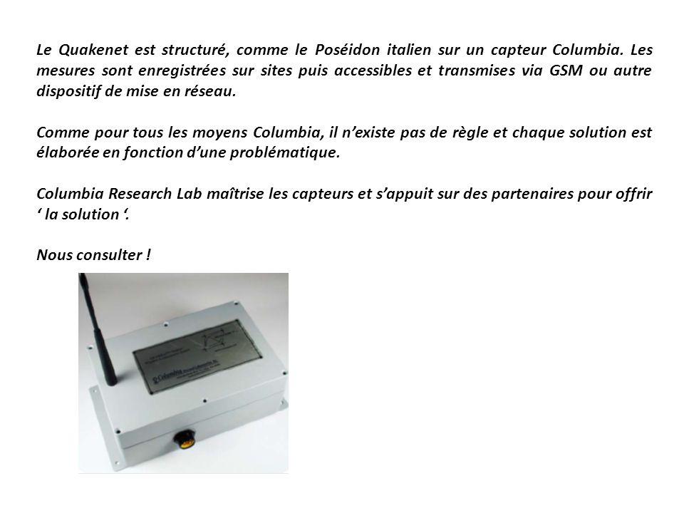 Le Quakenet est structuré, comme le Poséidon italien sur un capteur Columbia. Les mesures sont enregistrées sur sites puis accessibles et transmises via GSM ou autre dispositif de mise en réseau.