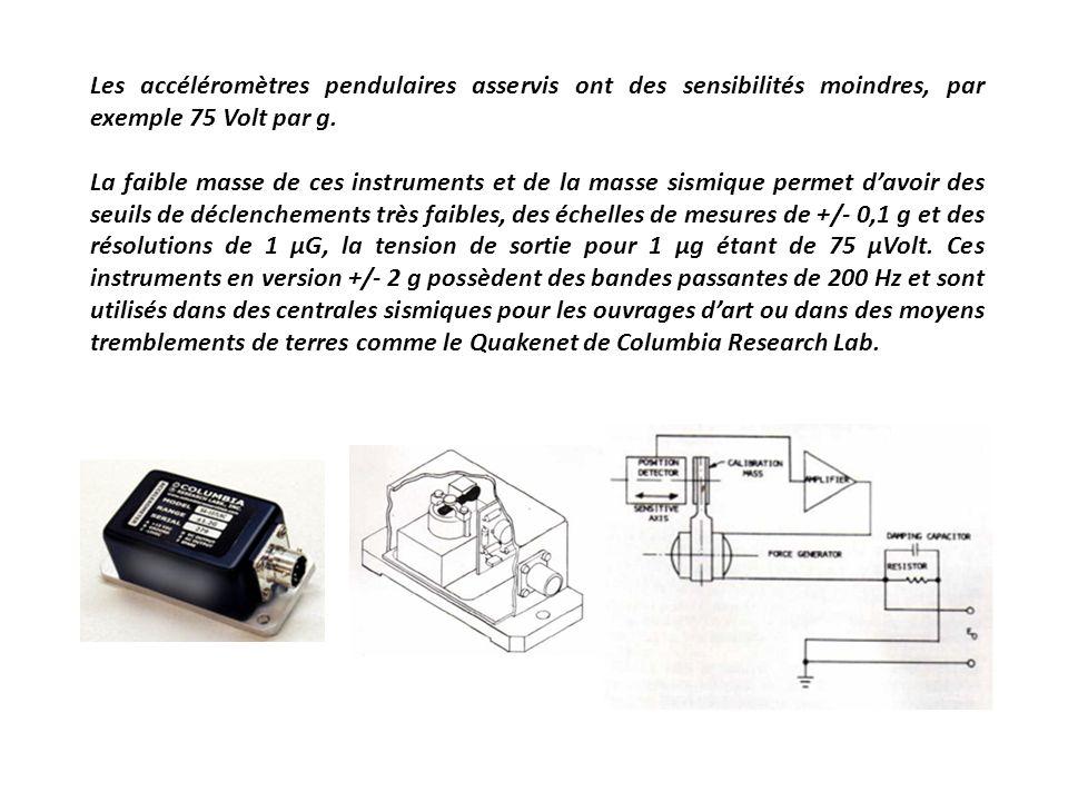 Les accéléromètres pendulaires asservis ont des sensibilités moindres, par exemple 75 Volt par g.
