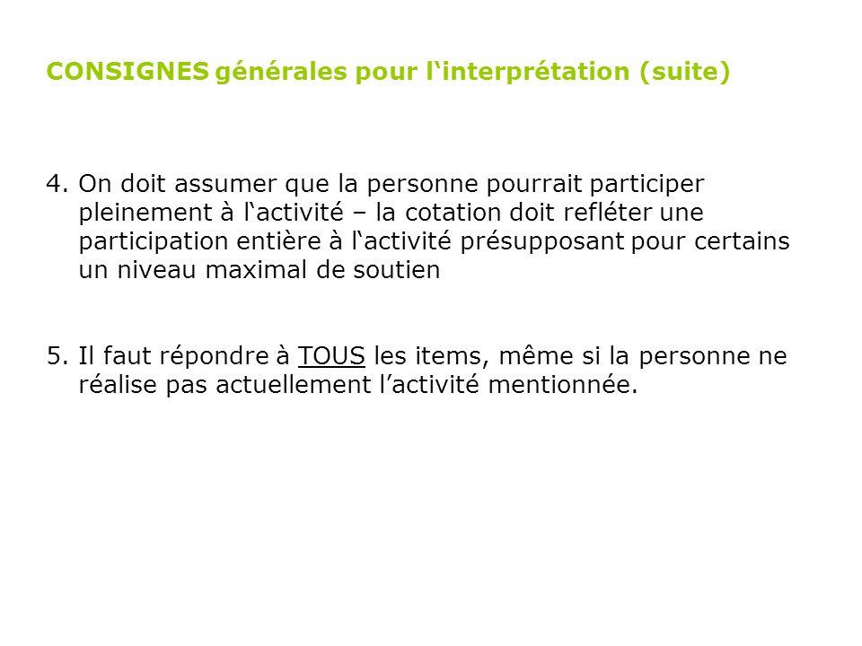 CONSIGNES générales pour l'interprétation (suite)