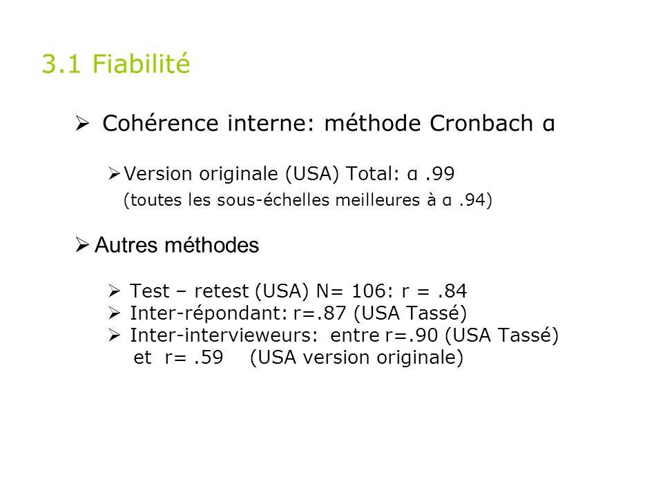 3.1 Fiabilité Cohérence interne: méthode Cronbach α