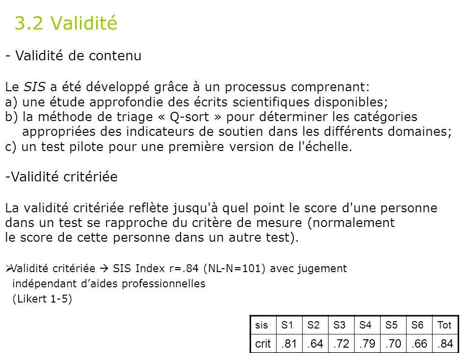 3.2 Validité - Validité de contenu Validité critériée