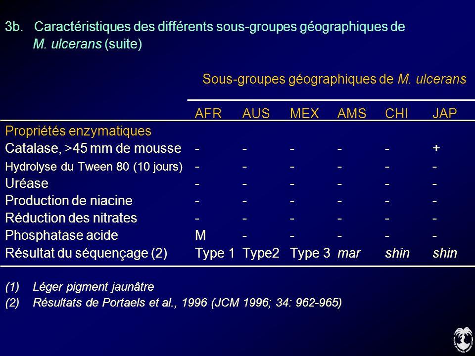 3b. Caractéristiques des différents sous-groupes géographiques de