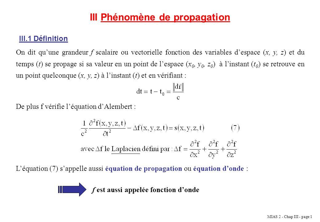 III Phénomène de propagation