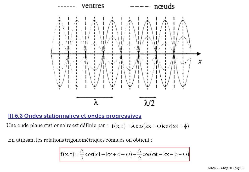 III.5.3 Ondes stationnaires et ondes progressives