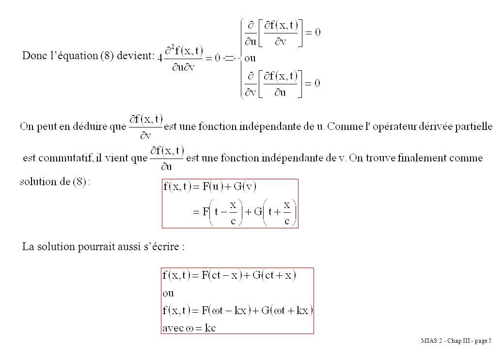 Donc l'équation (8) devient: