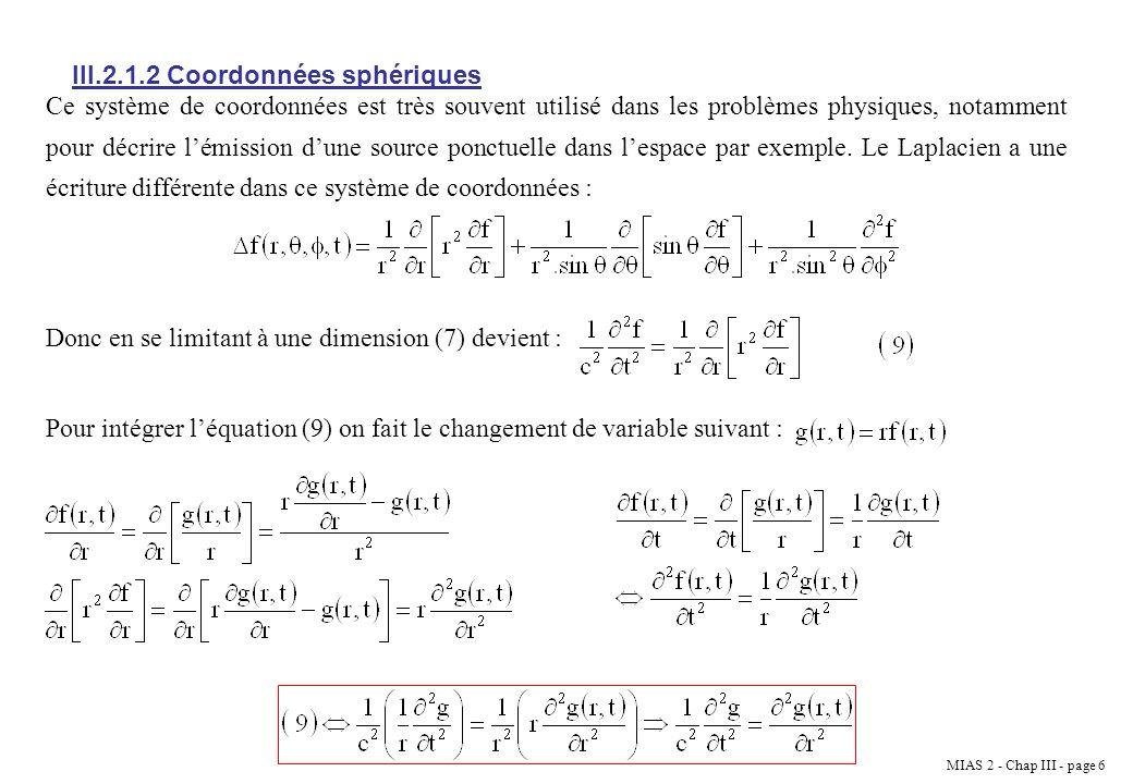III.2.1.2 Coordonnées sphériques