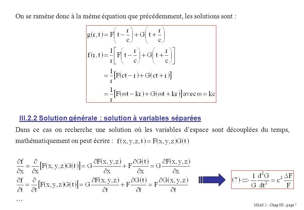 On se ramène donc à la même équation que précédemment, les solutions sont :