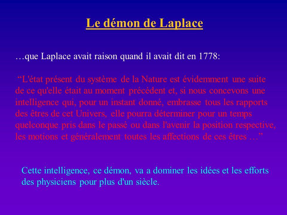 Le démon de Laplace …que Laplace avait raison quand il avait dit en 1778: L état présent du système de la Nature est évidemment une suite.