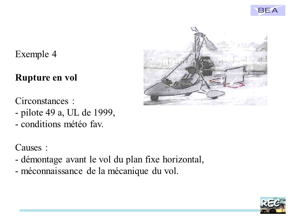 Exemple 4 Rupture en vol. Circonstances : pilote 49 a, UL de 1999, conditions météo fav. Causes :