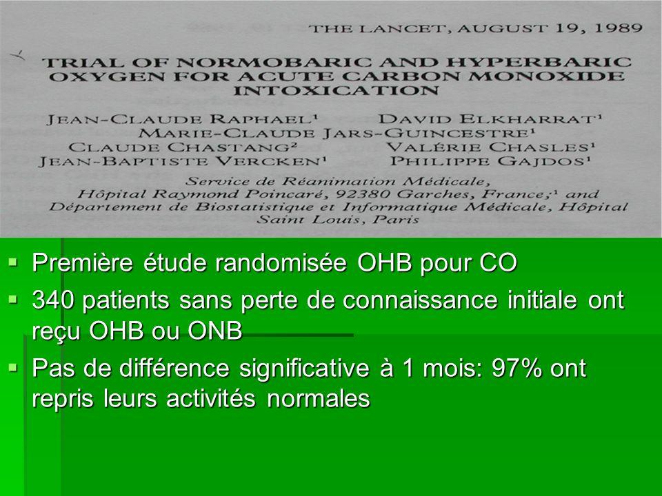 Première étude randomisée OHB pour CO