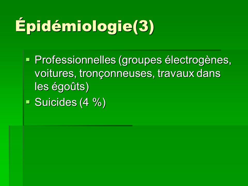 Épidémiologie(3) Professionnelles (groupes électrogènes, voitures, tronçonneuses, travaux dans les égoûts)