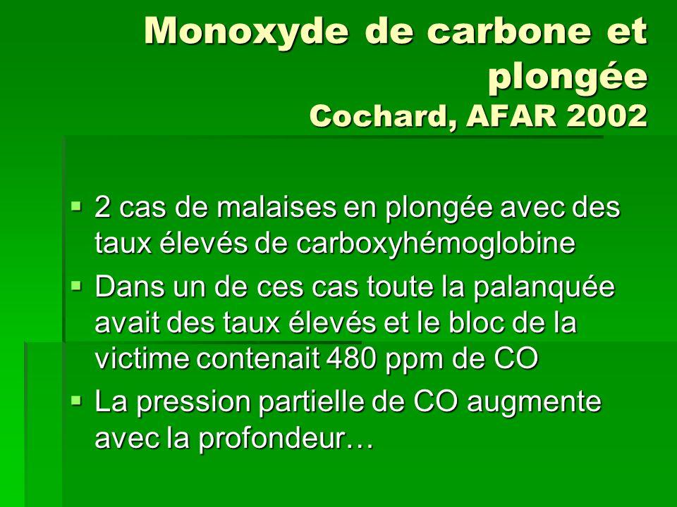 Monoxyde de carbone et plongée Cochard, AFAR 2002