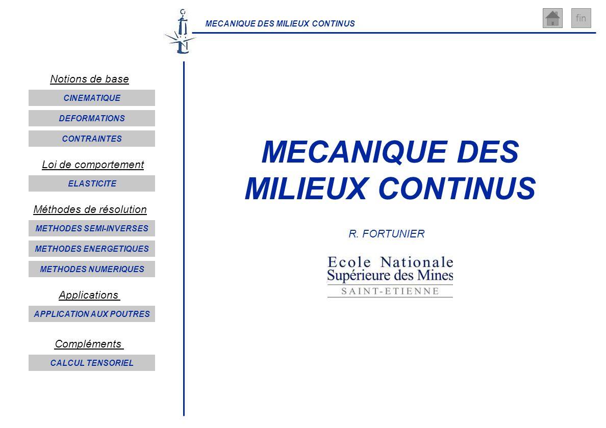 MECANIQUE DES MILIEUX CONTINUS