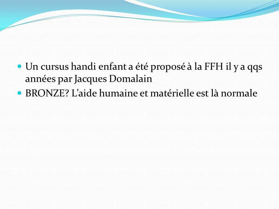 Un cursus handi enfant a été proposé à la FFH il y a qqs années par Jacques Domalain