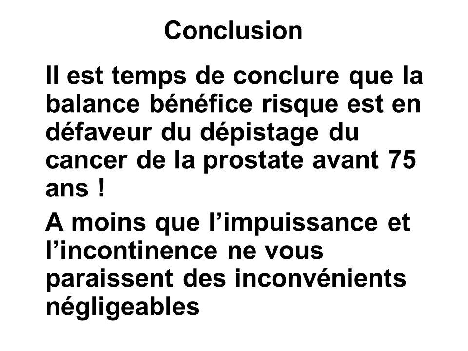Conclusion Il est temps de conclure que la balance bénéfice risque est en défaveur du dépistage du cancer de la prostate avant 75 ans !