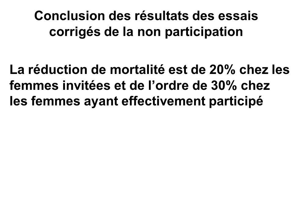 Conclusion des résultats des essais corrigés de la non participation