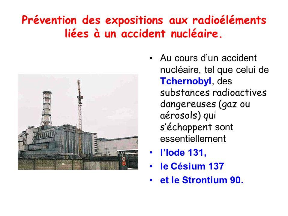 Prévention des expositions aux radioéléments liées à un accident nucléaire.