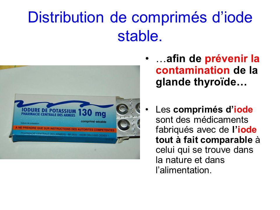 Distribution de comprimés d'iode stable.