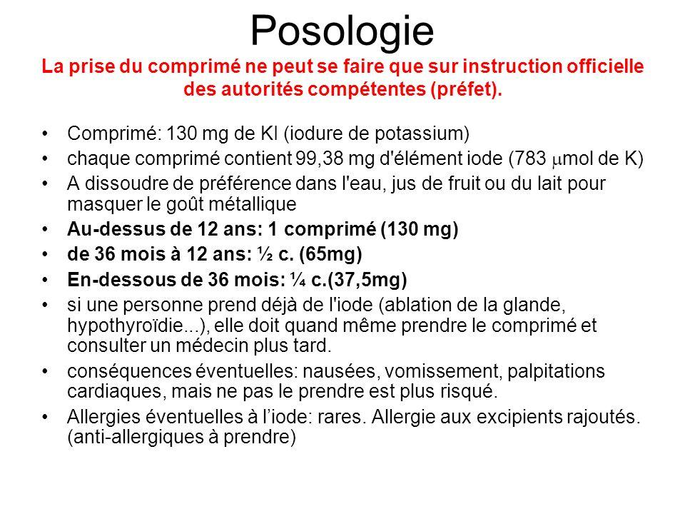 Posologie La prise du comprimé ne peut se faire que sur instruction officielle des autorités compétentes (préfet).