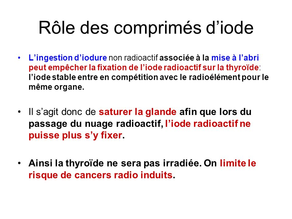 Rôle des comprimés d'iode