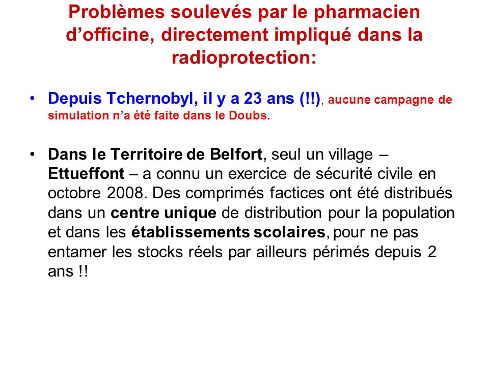 Problèmes soulevés par le pharmacien d'officine, directement impliqué dans la radioprotection: