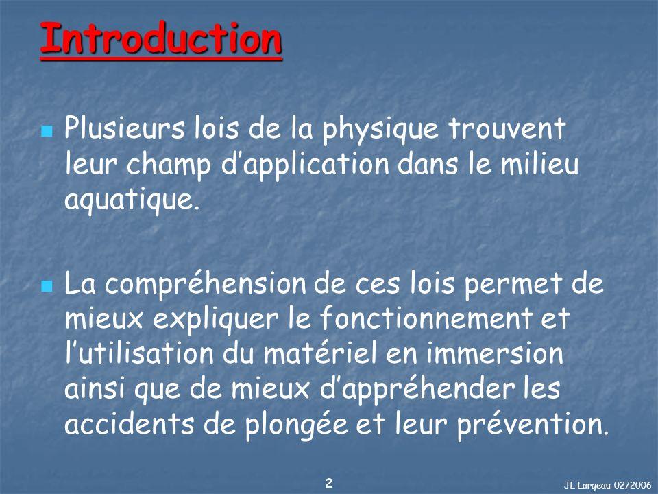 Introduction Plusieurs lois de la physique trouvent leur champ d'application dans le milieu aquatique.