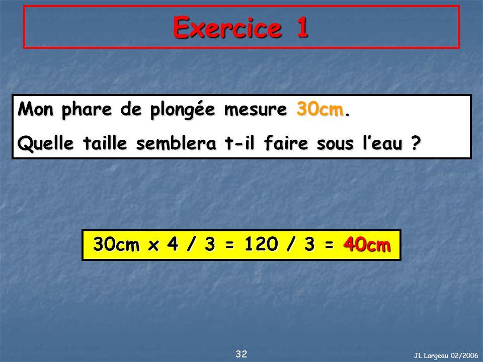 Exercice 1 Mon phare de plongée mesure 30cm.