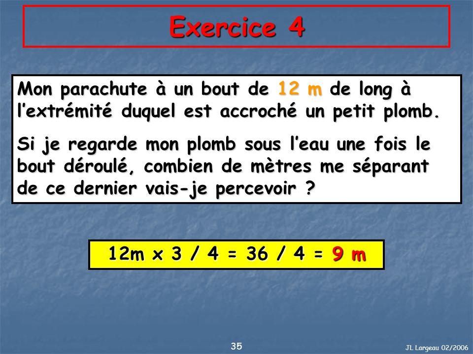 Exercice 4 Mon parachute à un bout de 12 m de long à l'extrémité duquel est accroché un petit plomb.