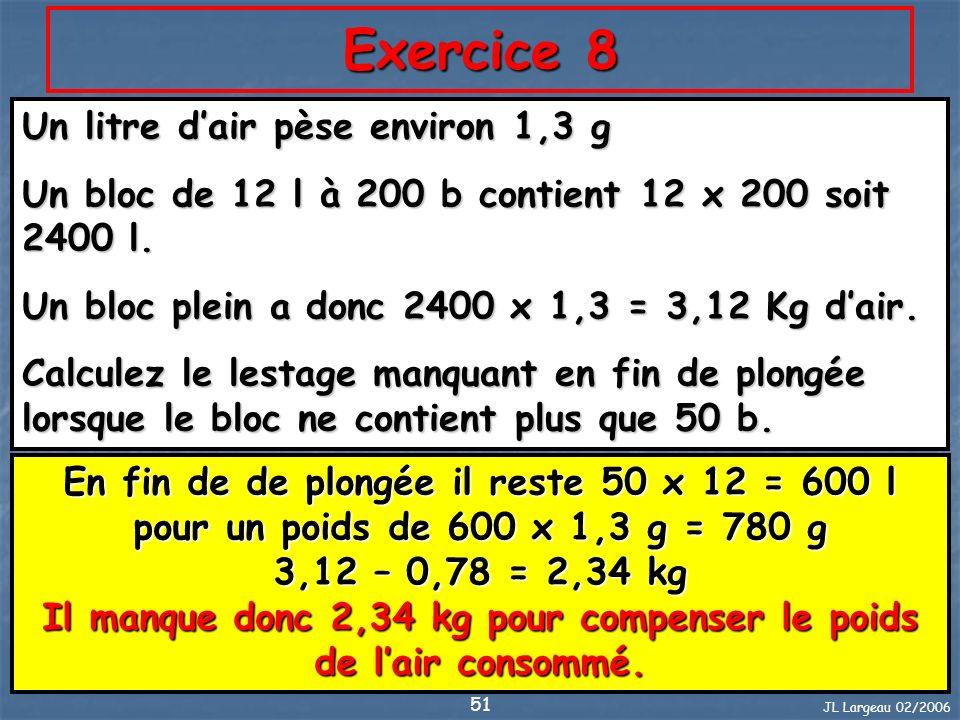 Exercice 8 Un litre d'air pèse environ 1,3 g