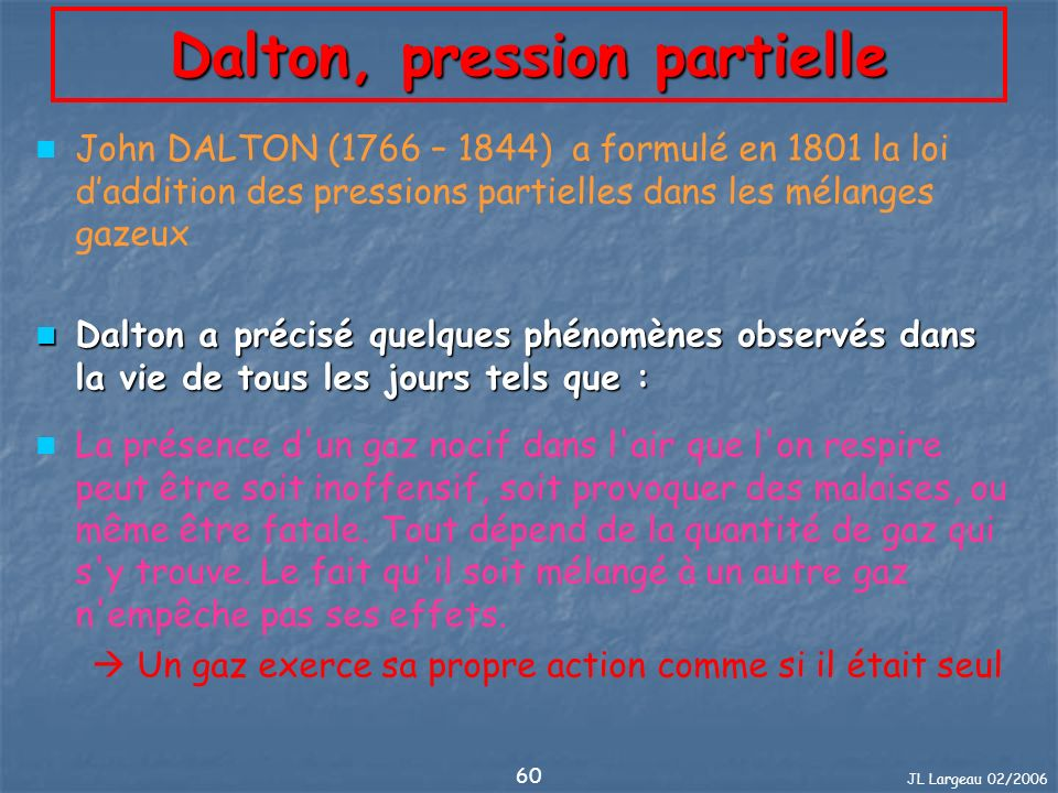 Dalton, pression partielle