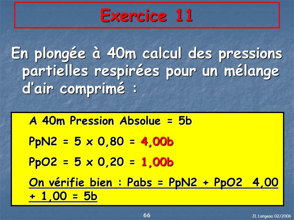 Exercice 11 En plongée à 40m calcul des pressions partielles respirées pour un mélange d'air comprimé :