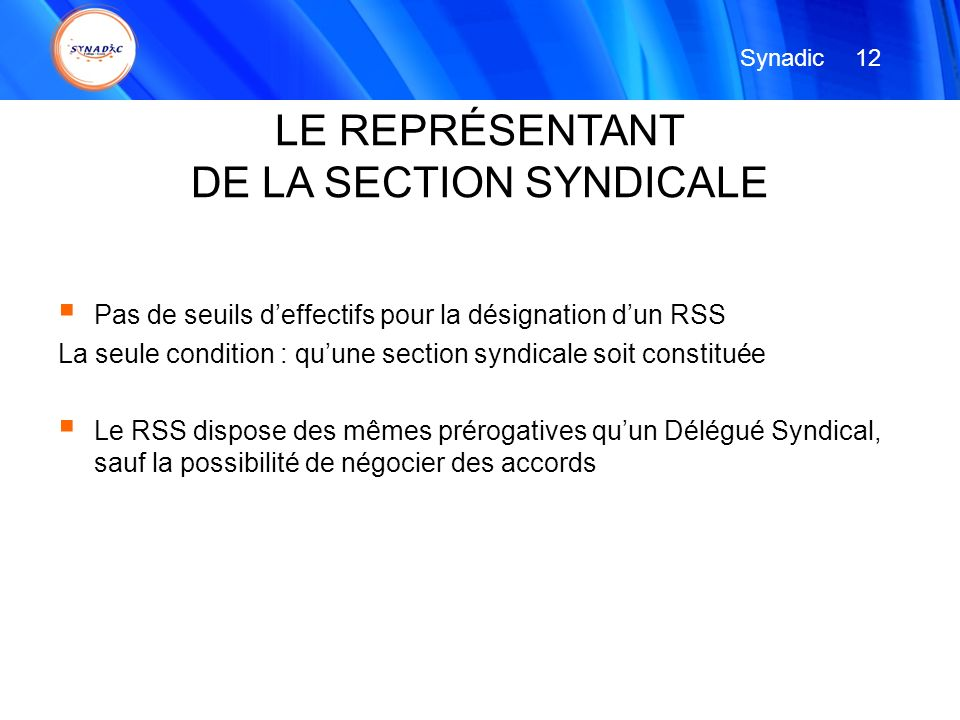 DE LA SECTION SYNDICALE