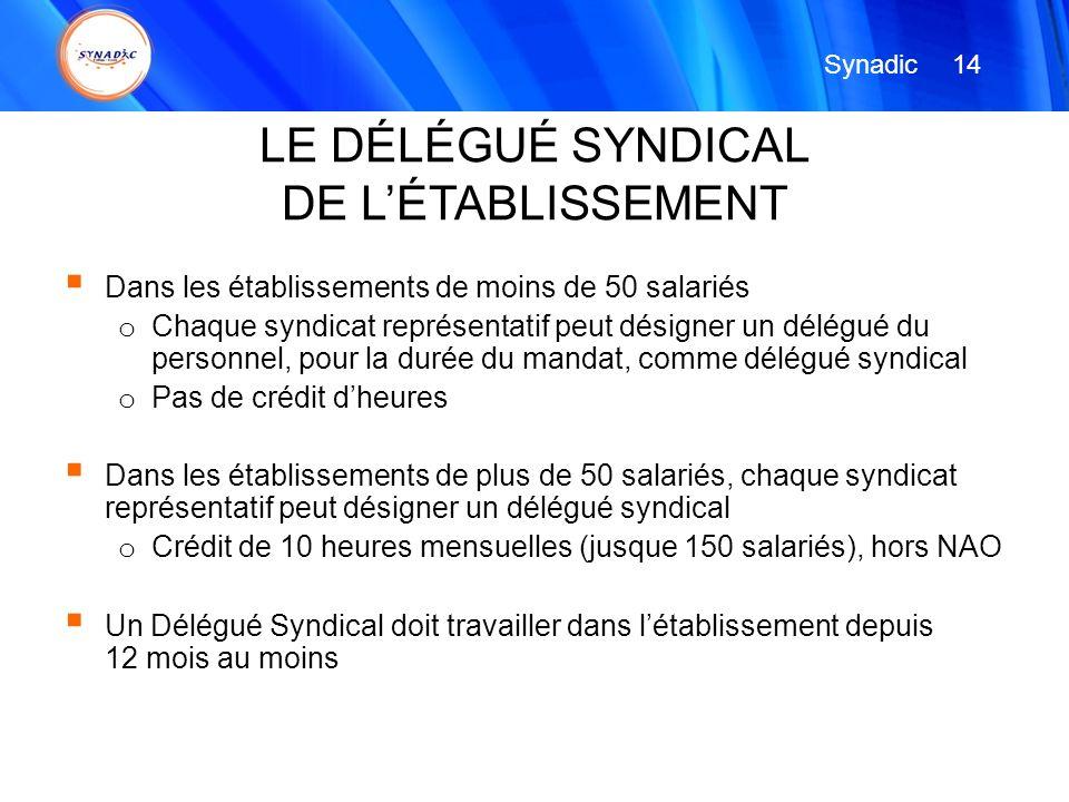 LE DÉLÉGUÉ SYNDICAL DE L'ÉTABLISSEMENT