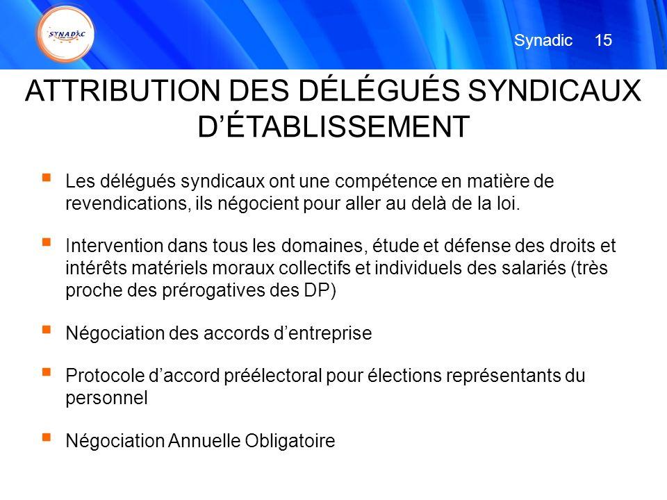 ATTRIBUTION DES DÉLÉGUÉS SYNDICAUX