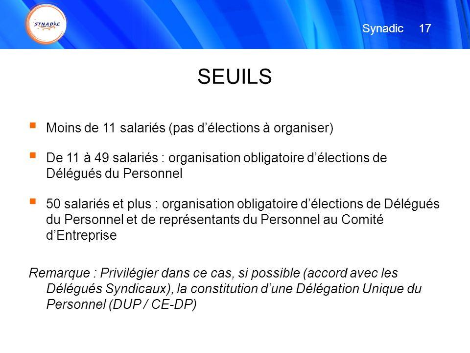 SEUILS Moins de 11 salariés (pas d'élections à organiser)