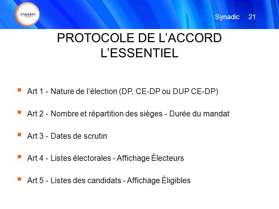 PROTOCOLE DE L'ACCORD L'ESSENTIEL