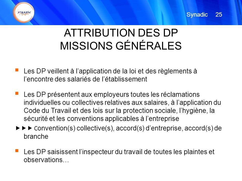 ATTRIBUTION DES DP MISSIONS GÉNÉRALES