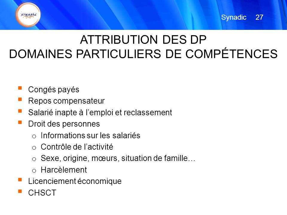 DOMAINES PARTICULIERS DE COMPÉTENCES
