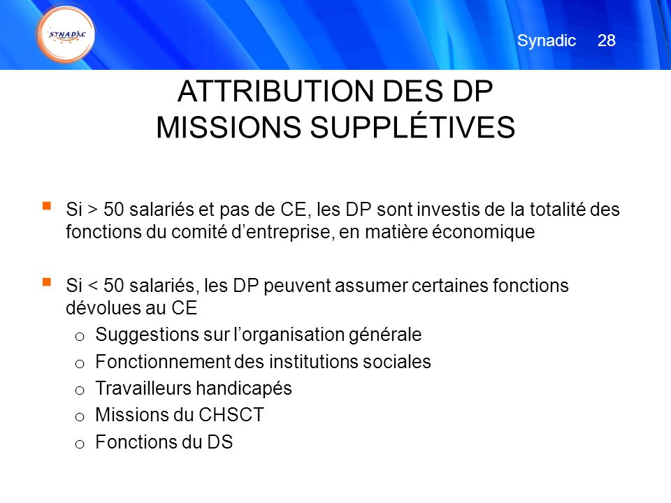 ATTRIBUTION DES DP MISSIONS SUPPLÉTIVES