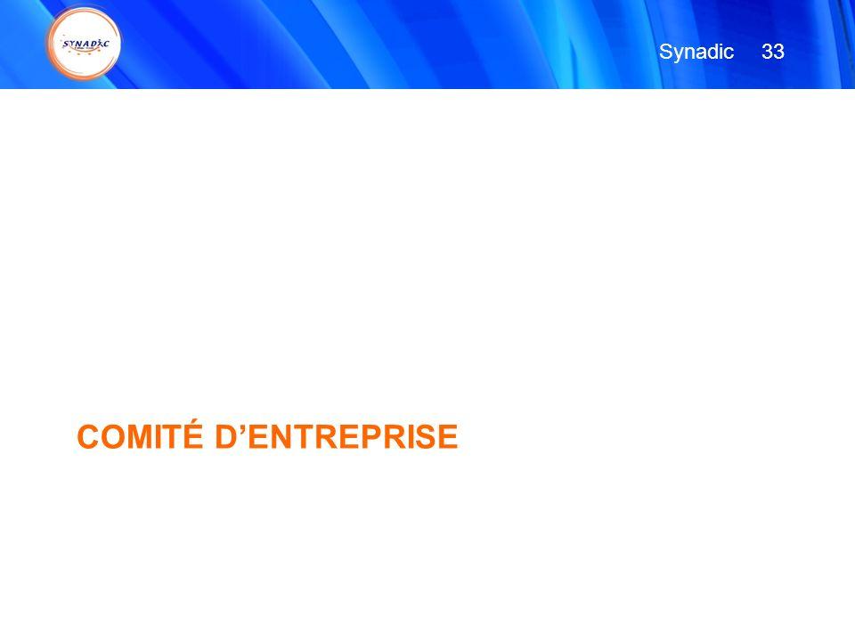 Synadic 33 COMITÉ D'ENTREPRISE