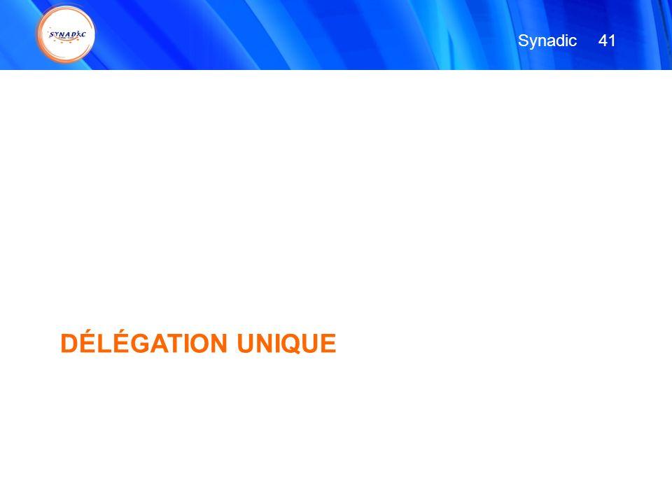 Synadic 41 DÉLÉGATION UNIQUE