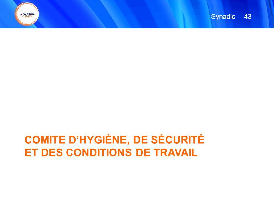 COMITE D'HYGIÈNE, DE SÉCURITÉ ET DES CONDITIONS DE TRAVAIL