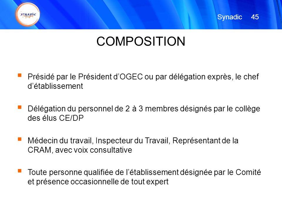 Synadic 45. COMPOSITION. Présidé par le Président d'OGEC ou par délégation exprès, le chef d'établissement.