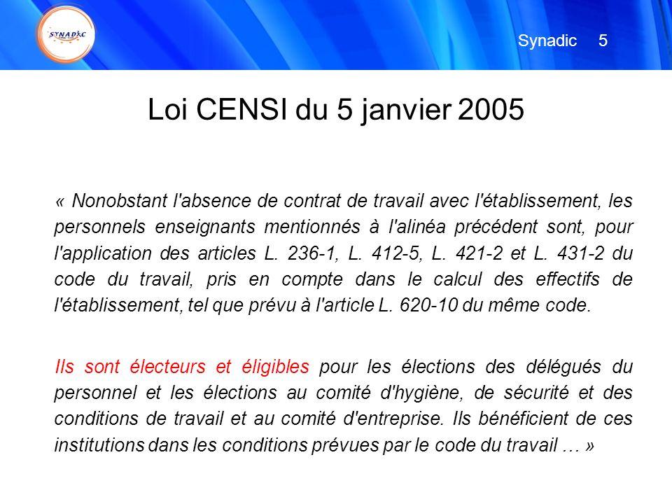 Synadic 5. Loi CENSI du 5 janvier 2005.