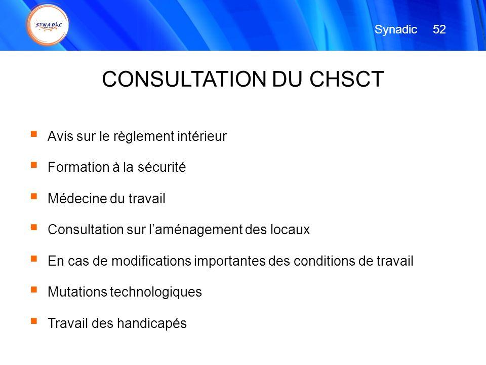 CONSULTATION DU CHSCT Avis sur le règlement intérieur