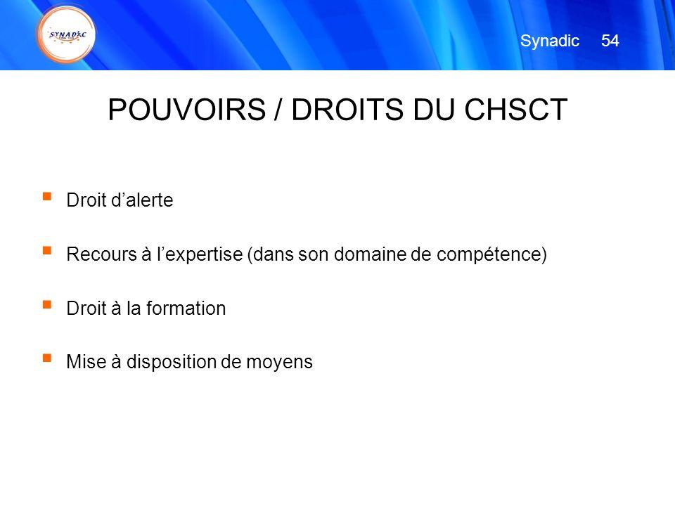 POUVOIRS / DROITS DU CHSCT