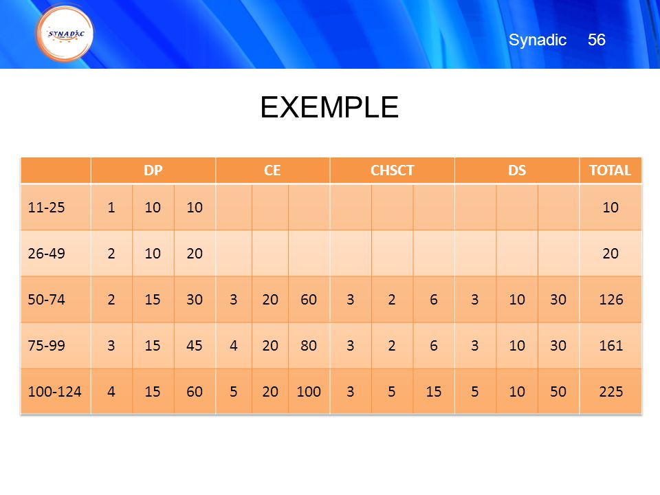EXEMPLE Synadic 56 DP CE CHSCT DS TOTAL 11-25 1 10 26-49 2 20 50-74 15