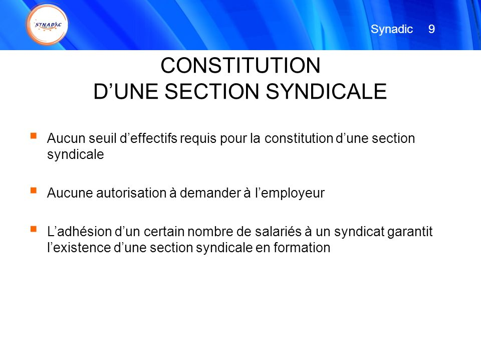 D'UNE SECTION SYNDICALE