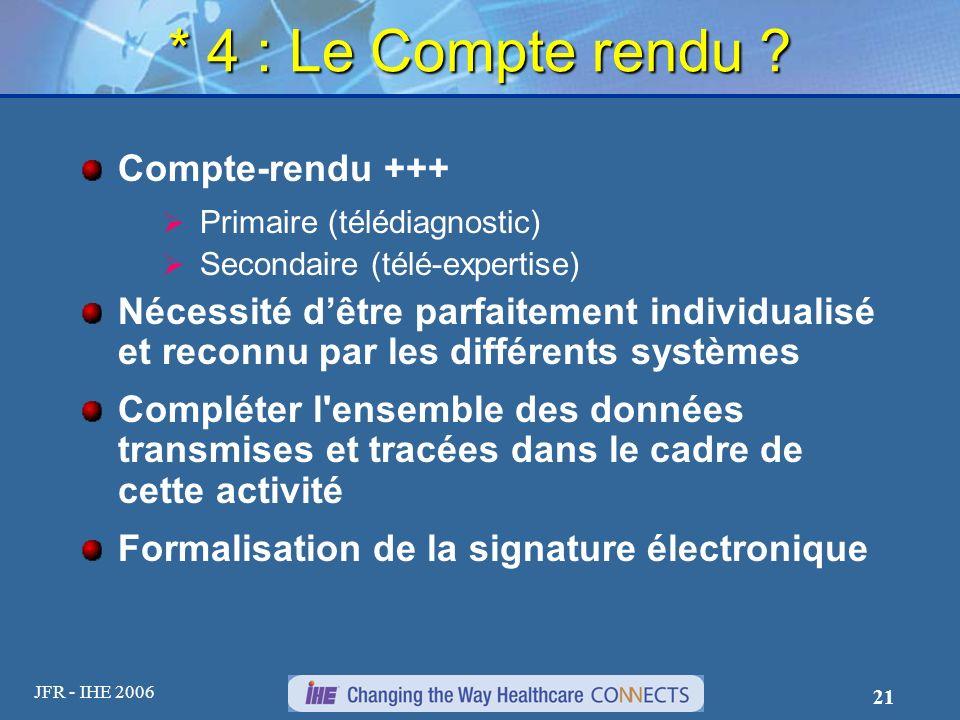 * 4 : Le Compte rendu Compte-rendu +++